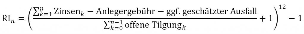 Formel zur Berechnung des Renditeindex
